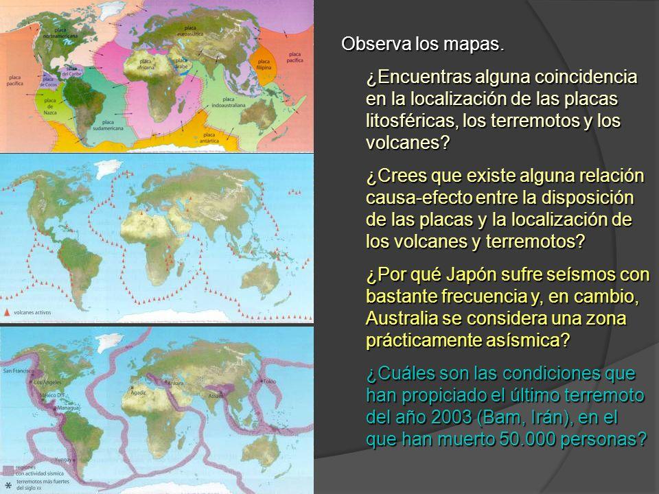 Observa los mapas. ¿Encuentras alguna coincidencia en la localización de las placas litosféricas, los terremotos y los volcanes