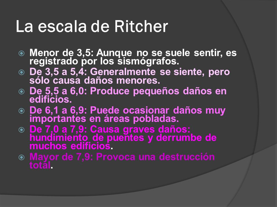 La escala de Ritcher Menor de 3,5: Aunque no se suele sentir, es registrado por los sismógrafos.