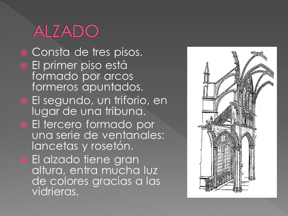 ALZADO Consta de tres pisos.