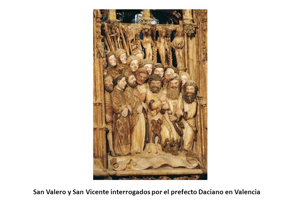 San Valero y San Vicente interrogados por el prefecto Daciano en Valencia