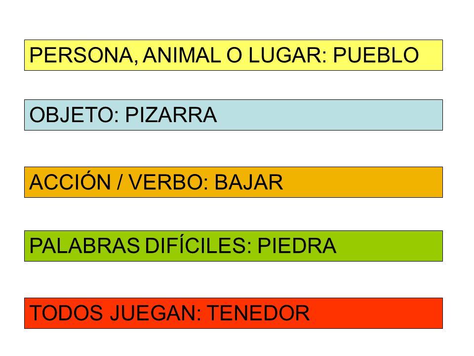 PERSONA, ANIMAL O LUGAR: PUEBLO