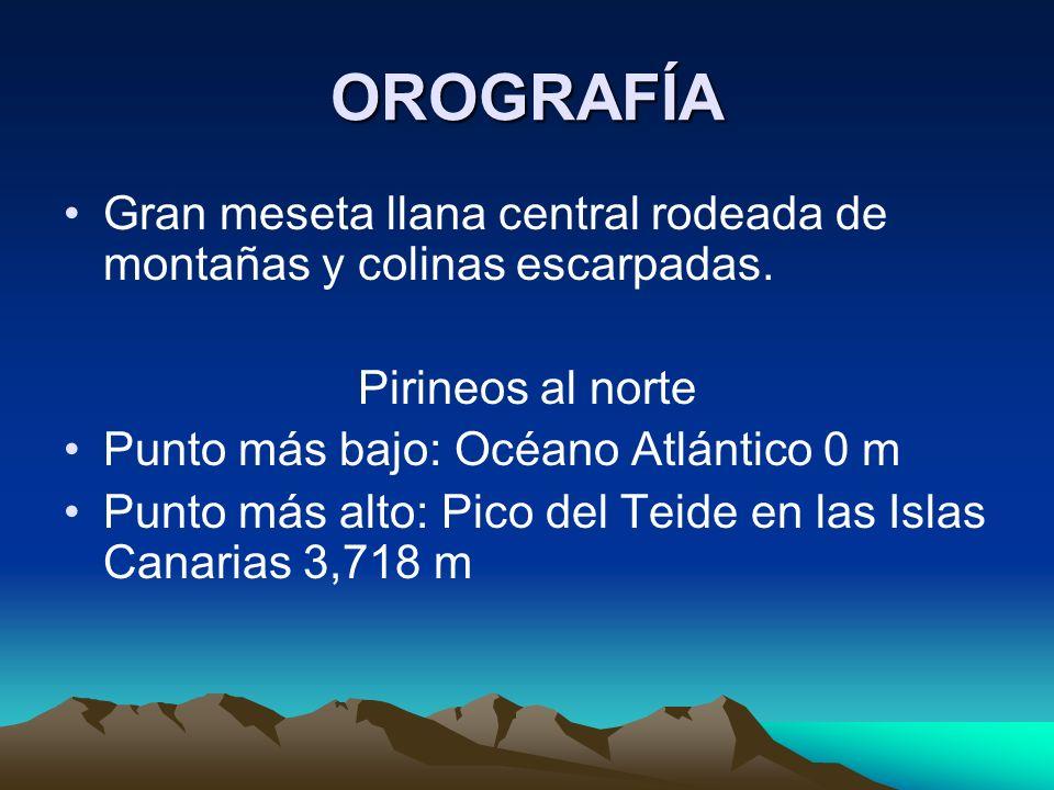 OROGRAFÍAGran meseta llana central rodeada de montañas y colinas escarpadas. Pirineos al norte. Punto más bajo: Océano Atlántico 0 m.