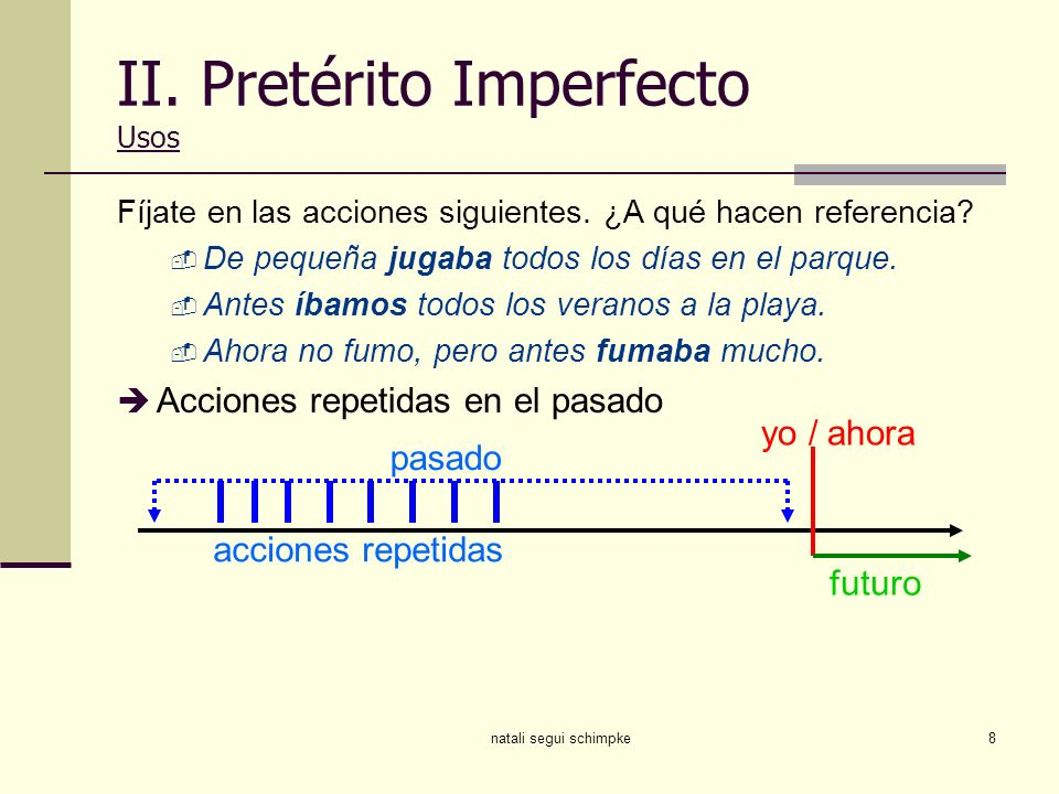II. Pretérito Imperfecto Usos
