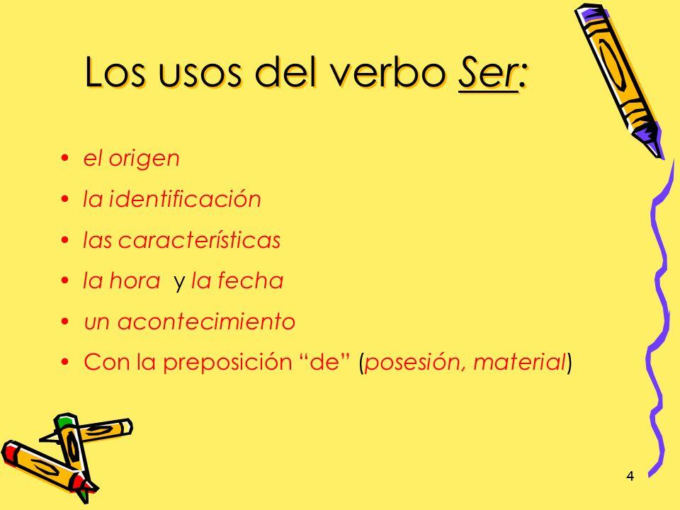Los usos del verbo Ser: el origen la identificación