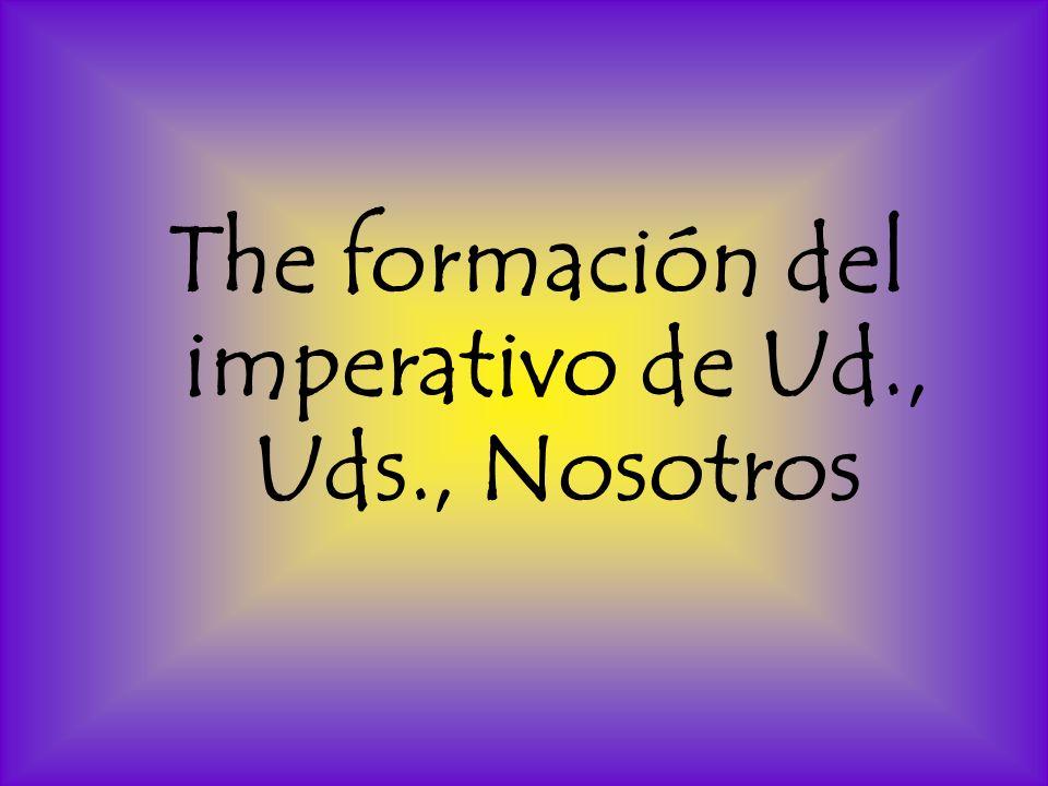 The formación del imperativo de Ud., Uds., Nosotros