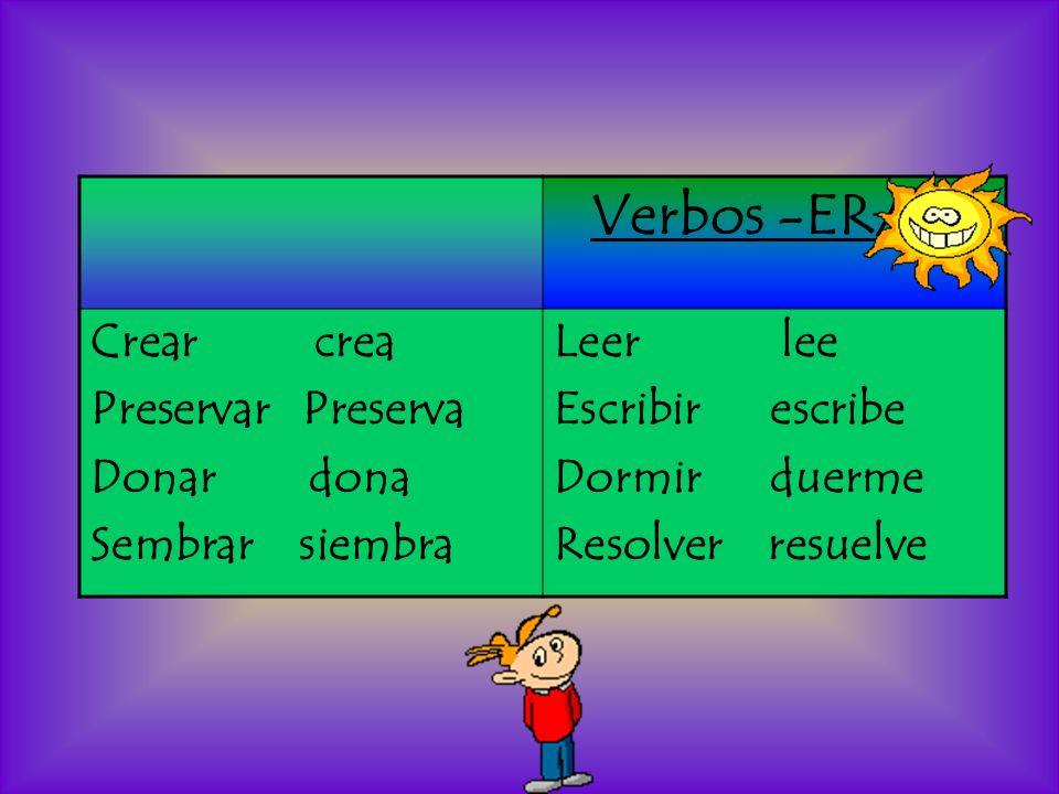 Verbos -ER/IR Crear crea Preservar Preserva Donar dona Sembrar siembra