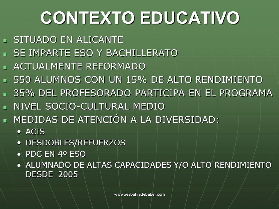 CONTEXTO EDUCATIVO SITUADO EN ALICANTE SE IMPARTE ESO Y BACHILLERATO