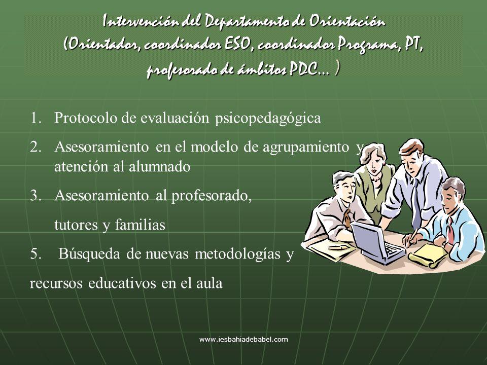Intervención del Departamento de Orientación (Orientador, coordinador ESO, coordinador Programa, PT, profesorado de ámbitos PDC… )