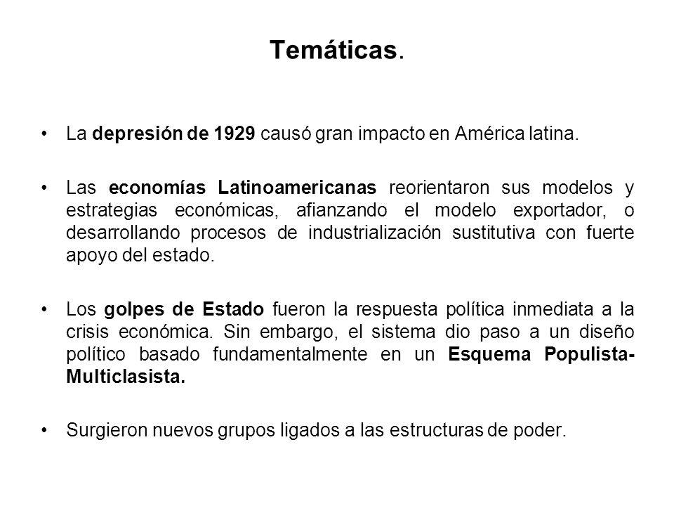 Temáticas. La depresión de 1929 causó gran impacto en América latina.