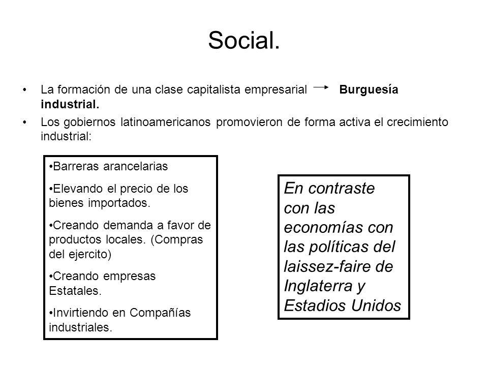 Social. La formación de una clase capitalista empresarial Burguesía industrial.