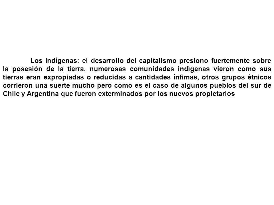 Los indígenas: el desarrollo del capitalismo presiono fuertemente sobre la posesión de la tierra, numerosas comunidades indígenas vieron como sus tierras eran expropiadas o reducidas a cantidades ínfimas, otros grupos étnicos corrieron una suerte mucho pero como es el caso de algunos pueblos del sur de Chile y Argentina que fueron exterminados por los nuevos propietarios
