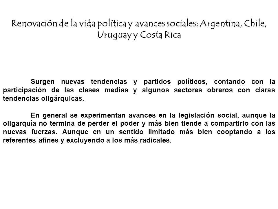 Renovación de la vida política y avances sociales: Argentina, Chile, Uruguay y Costa Rica