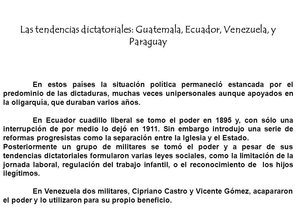Las tendencias dictatoriales: Guatemala, Ecuador, Venezuela, y Paraguay