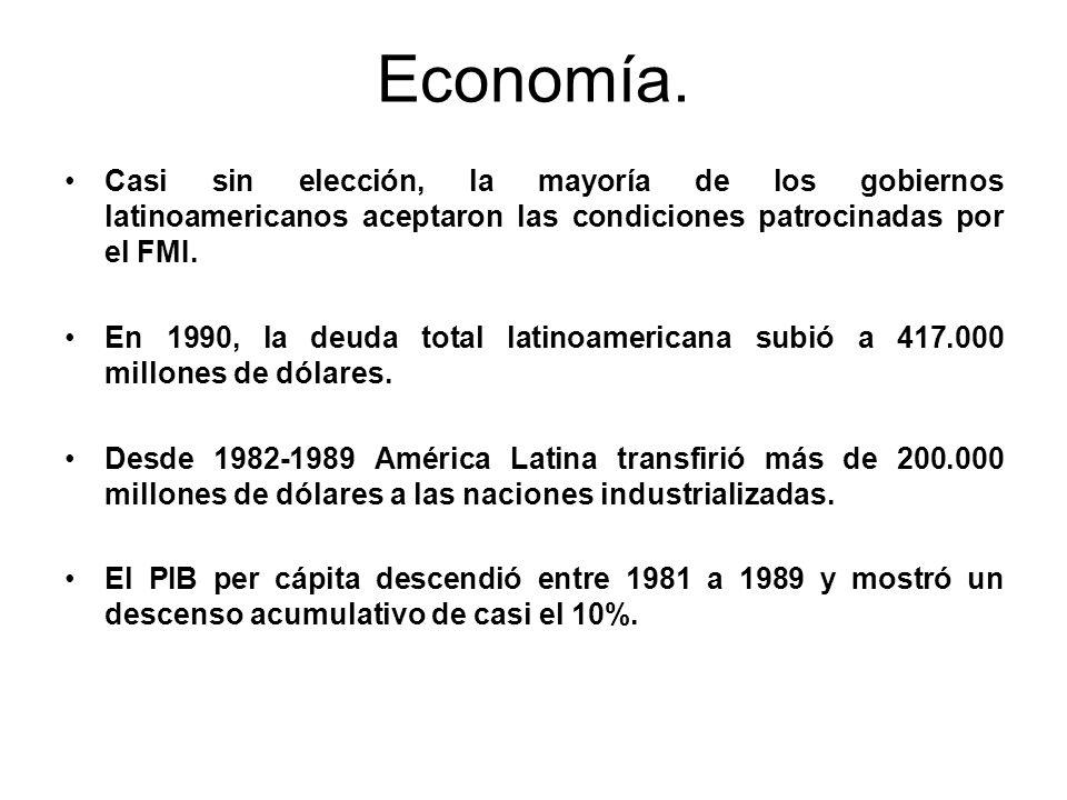 Economía. Casi sin elección, la mayoría de los gobiernos latinoamericanos aceptaron las condiciones patrocinadas por el FMI.