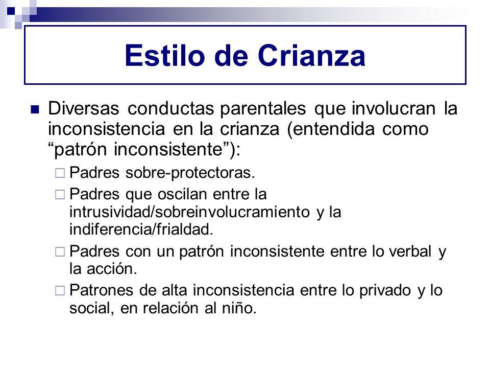 Estilo de CrianzaDiversas conductas parentales que involucran la inconsistencia en la crianza (entendida como patrón inconsistente ):
