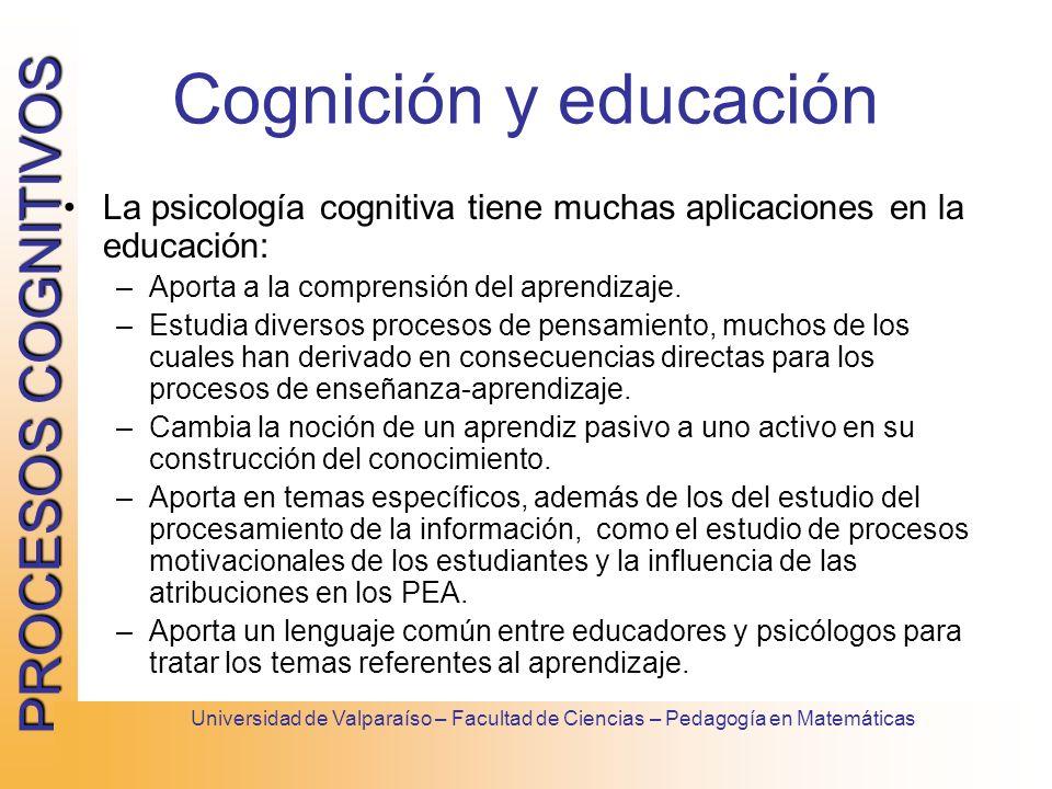 Cognición y educación La psicología cognitiva tiene muchas aplicaciones en la educación: Aporta a la comprensión del aprendizaje.