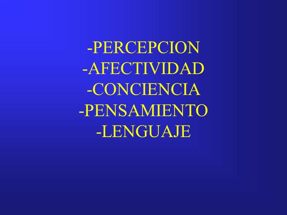 -PERCEPCION -AFECTIVIDAD -CONCIENCIA -PENSAMIENTO -LENGUAJE