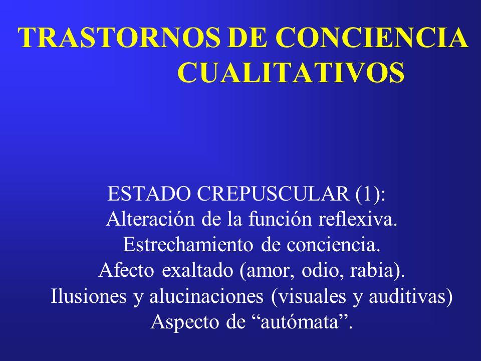 TRASTORNOS DE CONCIENCIA CUALITATIVOS