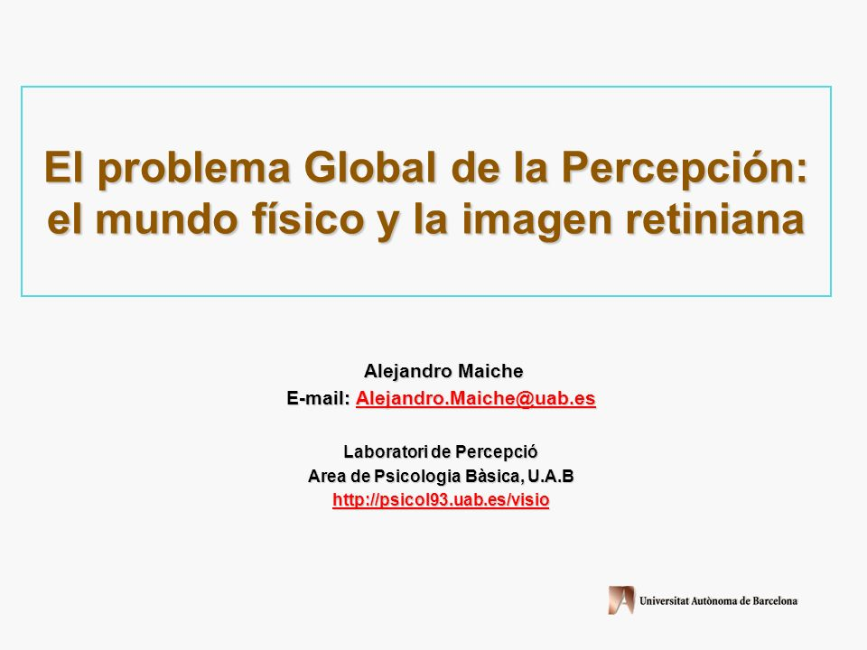 El problema Global de la Percepción: el mundo físico y la imagen retiniana