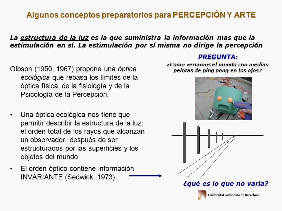 Algunos conceptos preparatorios para PERCEPCIÓN Y ARTE