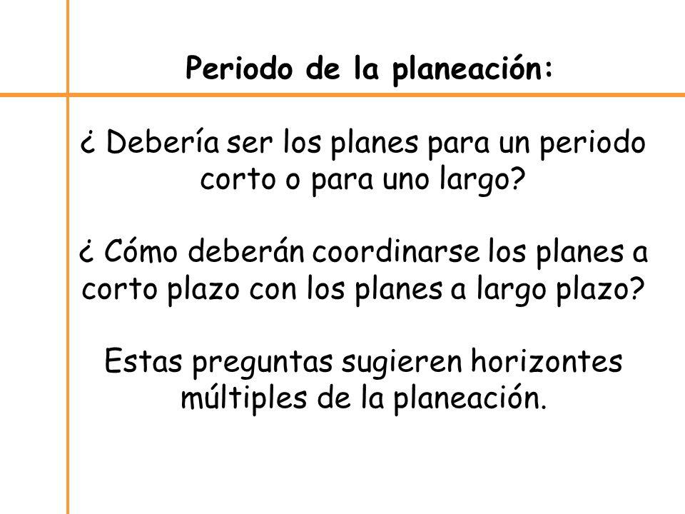 Periodo de la planeación: ¿ Debería ser los planes para un periodo corto o para uno largo.
