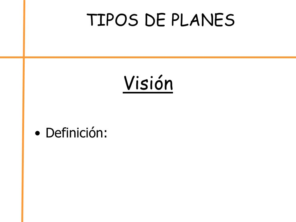 TIPOS DE PLANES Visión Definición: