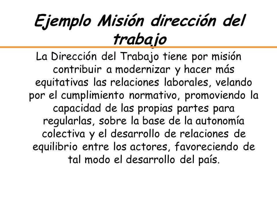 Ejemplo Misión dirección del trabajo