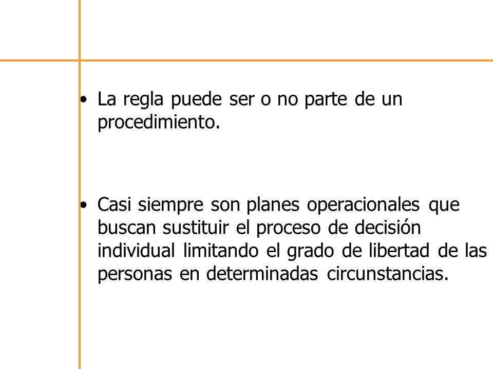 La regla puede ser o no parte de un procedimiento.