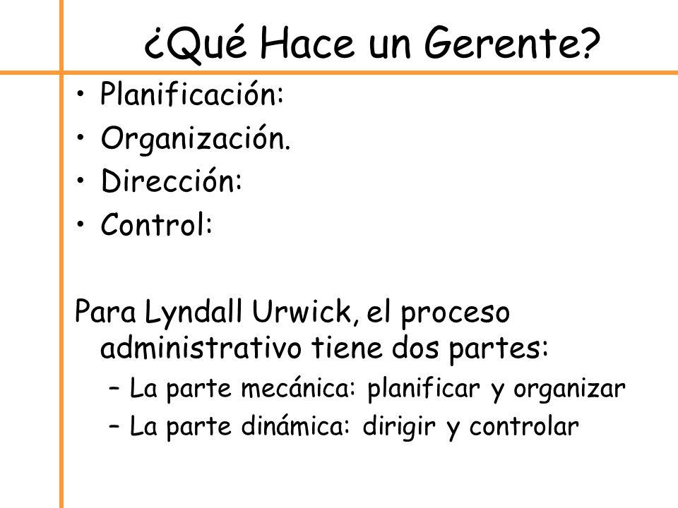 ¿Qué Hace un Gerente Planificación: Organización. Dirección: Control: