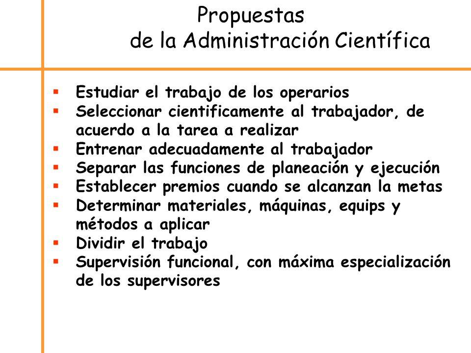 Propuestas de la Administración Científica