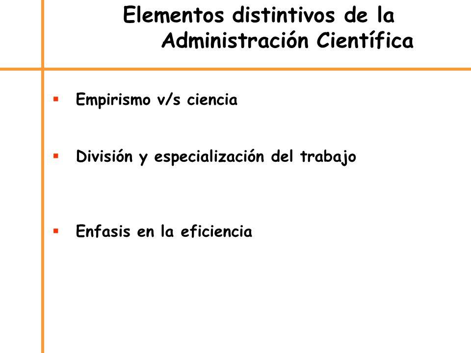 Elementos distintivos de la Administración Científica