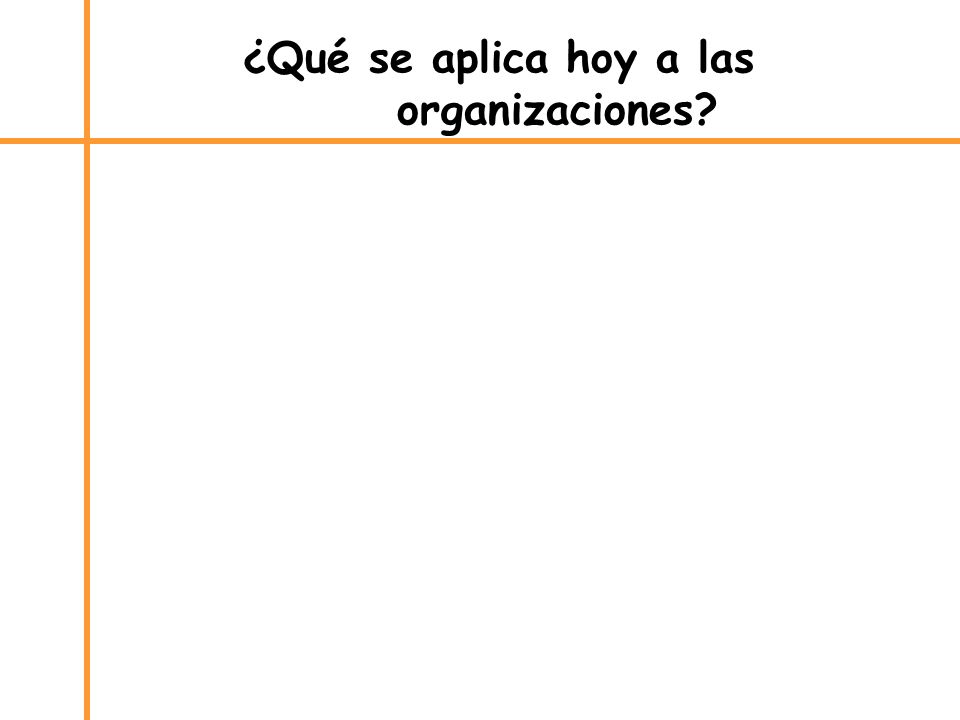 ¿Qué se aplica hoy a las organizaciones
