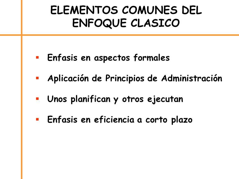 ELEMENTOS COMUNES DEL ENFOQUE CLASICO