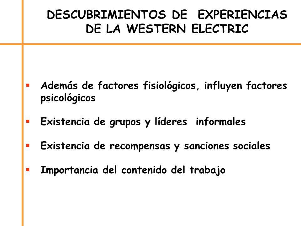 DESCUBRIMIENTOS DE EXPERIENCIAS DE LA WESTERN ELECTRIC