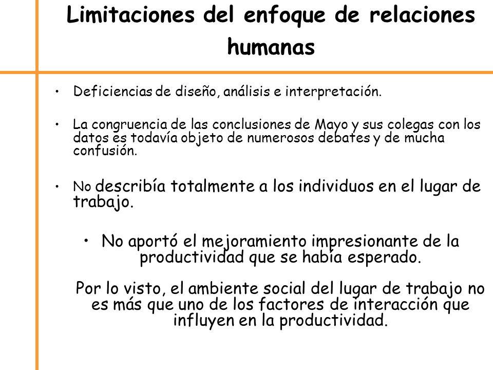Limitaciones del enfoque de relaciones humanas
