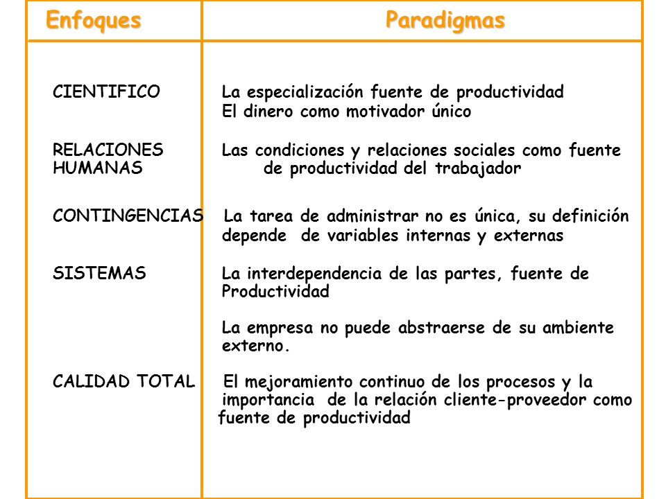 EnfoquesParadigmas. CIENTIFICO La especialización fuente de productividad. El dinero como motivador único.