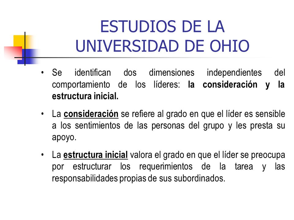 ESTUDIOS DE LA UNIVERSIDAD DE OHIO
