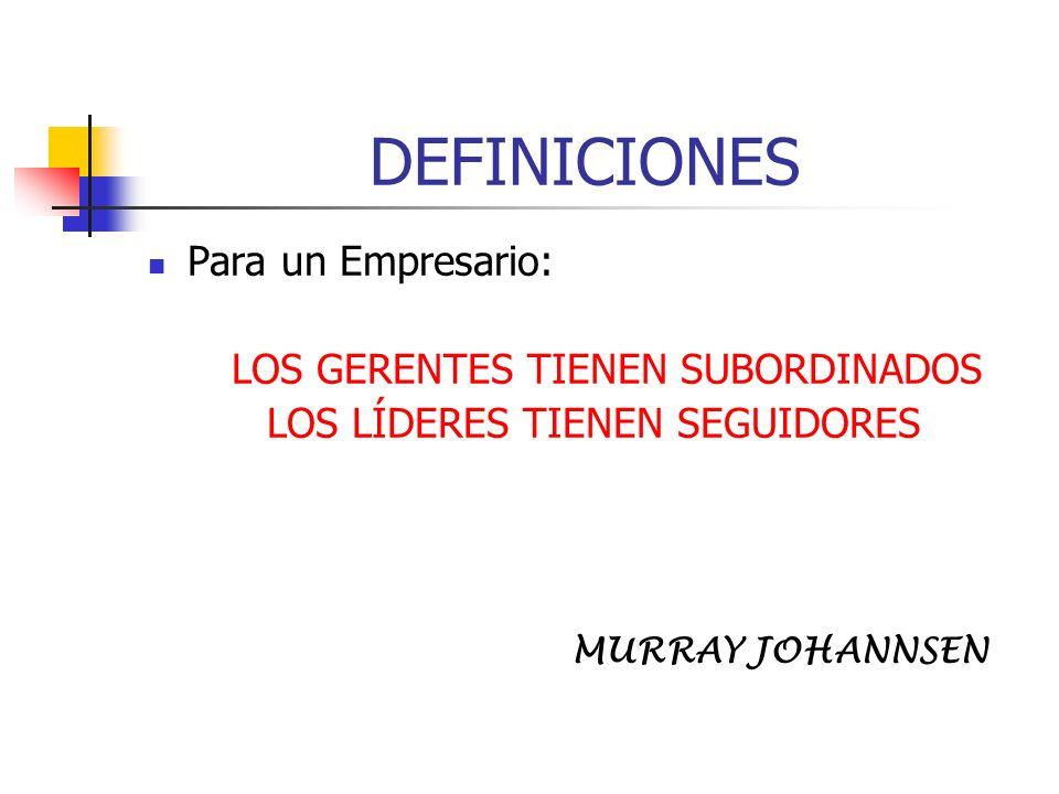 DEFINICIONES Para un Empresario: LOS GERENTES TIENEN SUBORDINADOS