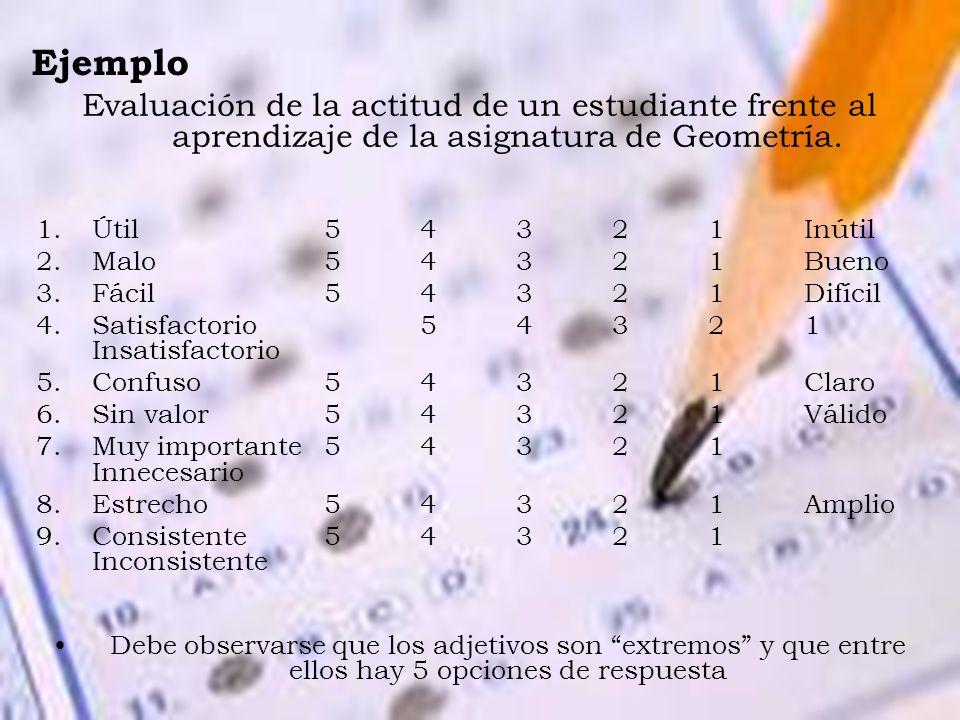 Ejemplo Evaluación de la actitud de un estudiante frente al aprendizaje de la asignatura de Geometría.