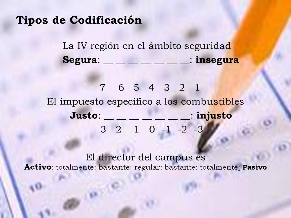 Tipos de Codificación La IV región en el ámbito seguridad