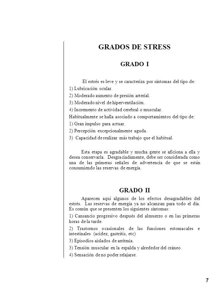 GRADOS DE STRESS GRADO I GRADO II