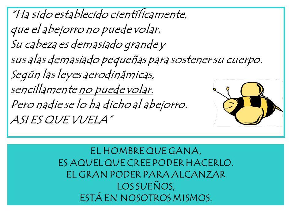 Ha sido establecido científicamente, que el abejorro no puede volar.