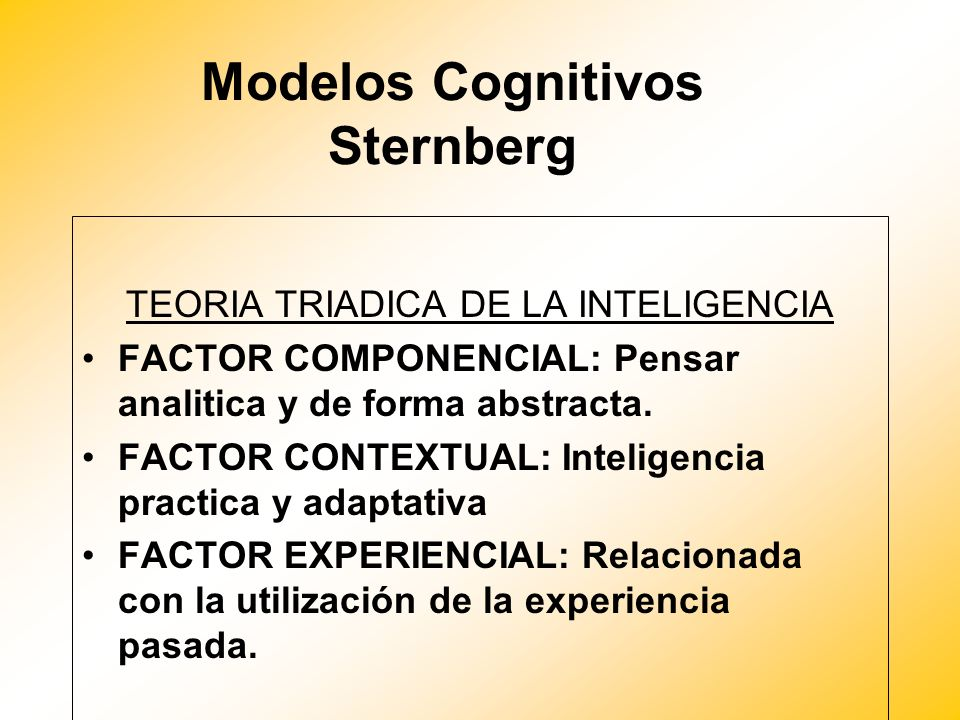 Modelos Cognitivos Sternberg