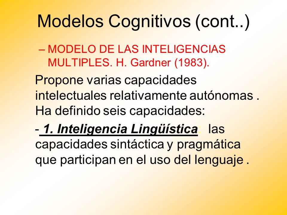 Modelos Cognitivos (cont..)