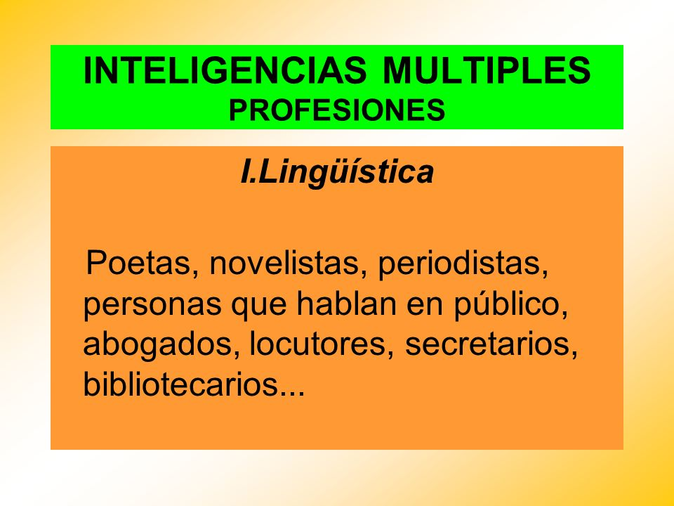 INTELIGENCIAS MULTIPLES PROFESIONES
