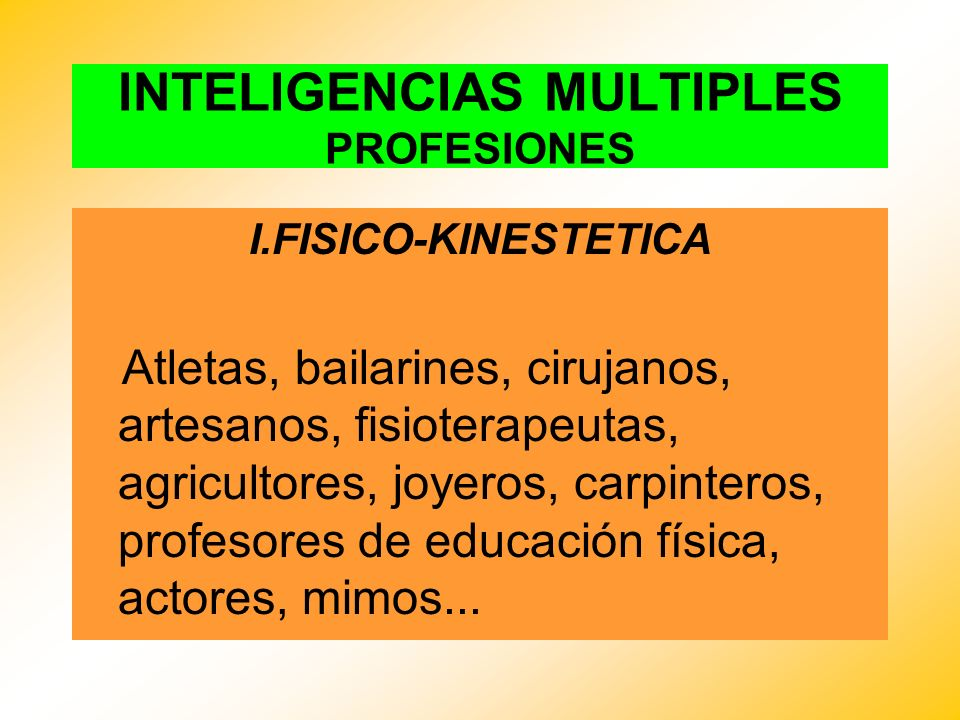 INTELIGENCIAS MULTIPLES PROFESIONES