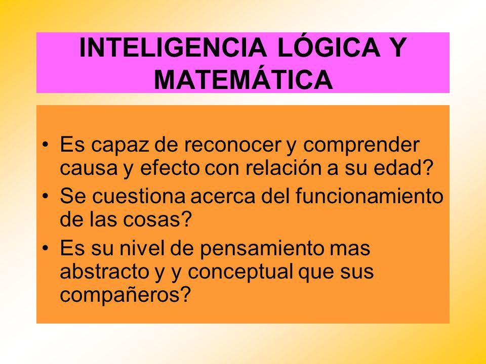 INTELIGENCIA LÓGICA Y MATEMÁTICA