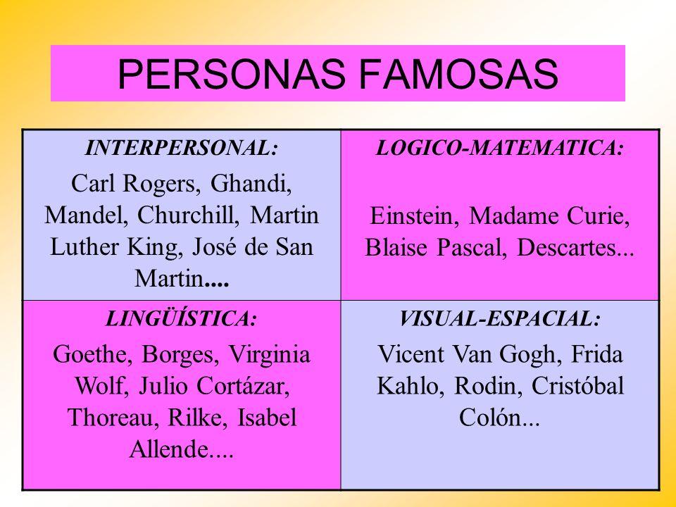 PERSONAS FAMOSAS INTERPERSONAL: Carl Rogers, Ghandi, Mandel, Churchill, Martin Luther King, José de San Martin....