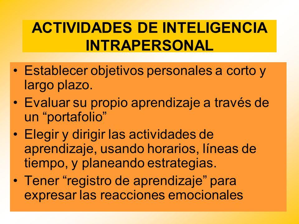 ACTIVIDADES DE INTELIGENCIA INTRAPERSONAL