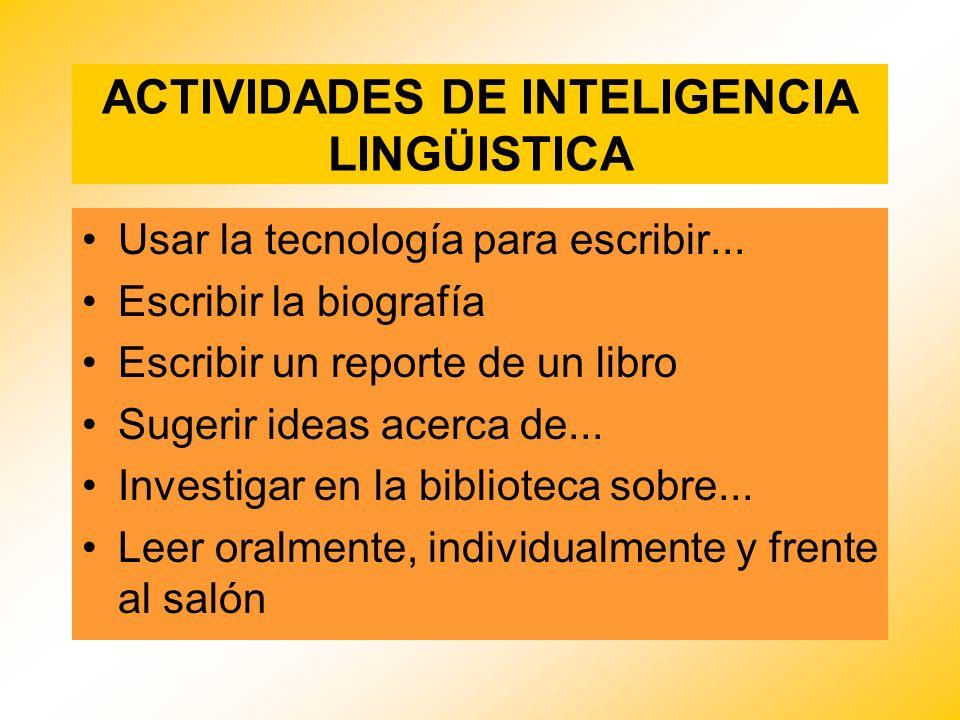 ACTIVIDADES DE INTELIGENCIA LINGÜISTICA